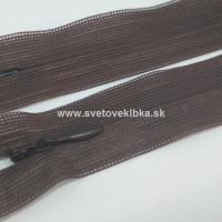 Zips šatový, špirálový - krytý - 35 cm - Tmavohnedá 37