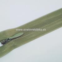 Zips šatový, špirálový - krytý - 18 cm - Olivová 62
