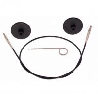 Knitpro - Vymeniteľné lanko na ihlice - čierne 28 cm (spolu s ihlicami 50 cm)
