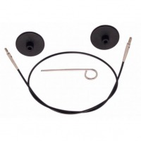 Knitpro - Vymeniteľné lanko na ihlice - čierne 126 cm (spolu s ihlicami 150 cm)
